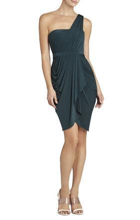 BCBG Julieta One-Shoulder Ruched Dress