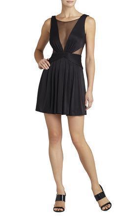 BCBG Lacee Sleeveless Ruched-Bodice Dress