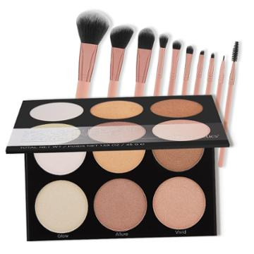 Bh Cosmetics Spotlight Highlight Palette + Pretty In Pink Brush Set