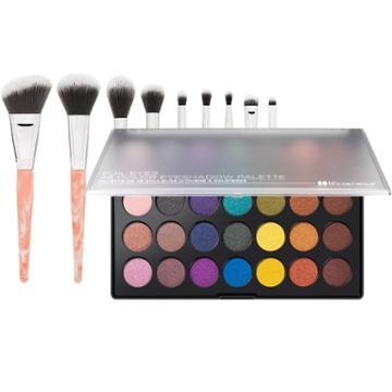 Bh Cosmetics Foil Eyes Palette + Rose Quartz Brush Set
