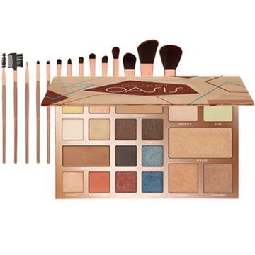 Bh Cosmetics Desert Oasis Palette + Rose Gold 15 Piece Brush Set