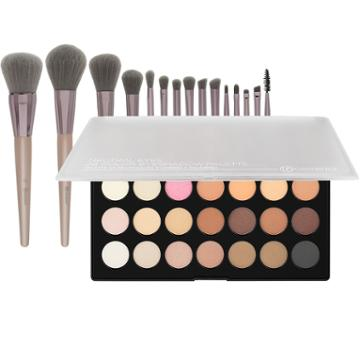 Bh Cosmetics Neutral Eyes Palette + Lavish Elegance Brush Set