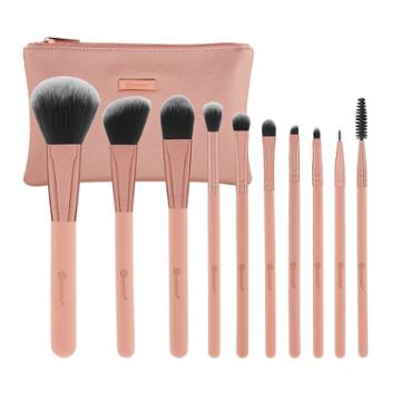 Bh Cosmetics Pretty In Pink - 10 Piece Brush Set With Cosmetic Bag