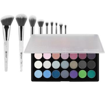 Bh Cosmetics Foil Eyes 2 Palette + White Marble Brush Set