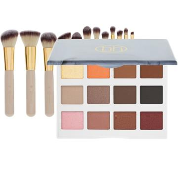 Bh Cosmetics Marble Collection - Warm Stone Palette + Studded Couture Brush Set