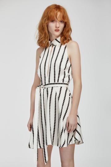 Finders Keepers Carlos Short Sleeve Dress White Base Spot Print