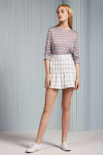 The Fifth Atticus Check Skirt White W Charcoalxxs, Xs,s,m,l,xl