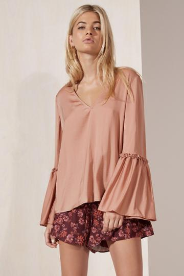 The Fifth The Fifth Banjo Long Sleeve Top Dusty Blush