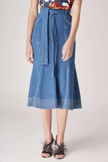 C/meo Collective Perpetual Dreams Midi Skirt Blue W Ivoryxxs, Xs,s,m,l,xl