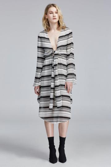 Finders Keepers Finders Keepers Pierre Long Sleeve Midi Dress Black Stripe