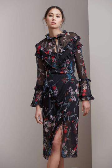 Keepsake Paperthin Skirt Black Botanic Floralxxs, Xs,s,m,l