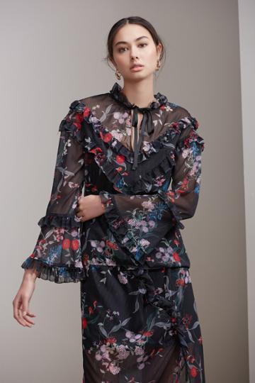 Keepsake Keepsake Paperthin Long Sleeve Top Black Botanic Floral