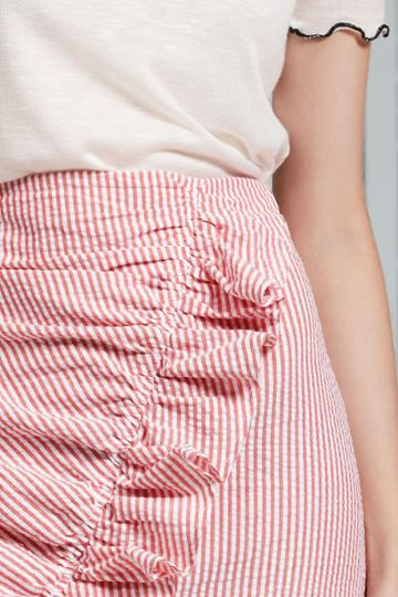 The Fifth The Fifth Anagram Stripe Skirt Red W Whitexxs, Xs,s,m,l