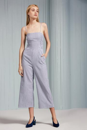 The Fifth The Fifth Anagram Stripe Jumpsuit Navy W Whitexxs, Xs,s,m,l,xl