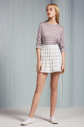The Fifth The Fifth Atticus Check Skirt White W Charcoalxxs, Xs,s,m,l,xl