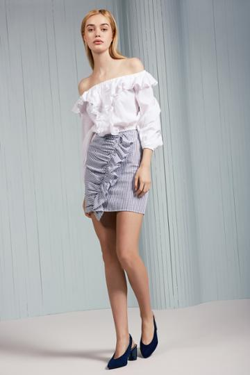 The Fifth The Fifth Anagram Stripe Skirt Navy W Whitexxs, Xs,s,m,l
