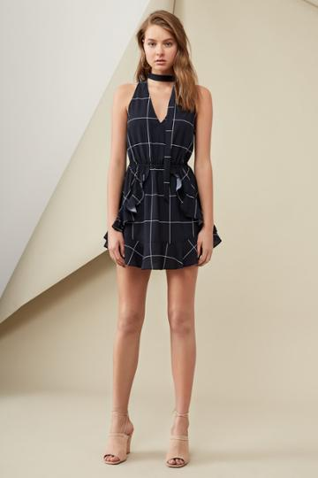 Finders Keepers Curtis Dress Print Navy Check