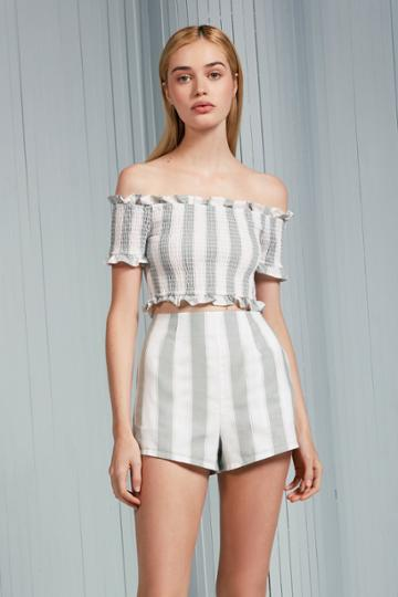 The Fifth The Fifth Poetic Stripe Short Sage W Whitexxs, Xs,s,m,l