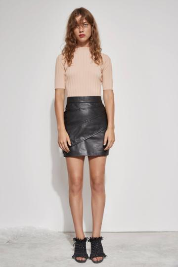 C/meo Collective Lesson Learnt Leather Skirt Black