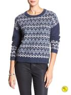 Banana Republic Factory Fair Isle Sweater Size L - Blue Heather