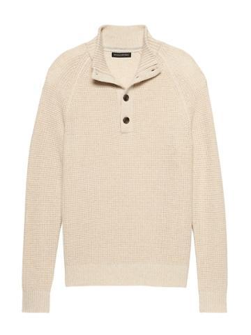 Banana Republic Mens Italian Merino Wool Blend Mock-neck Sweater Cream White Size S