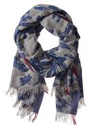 Banana Republic Floral Print Scarf Size One Size - Gray Texture