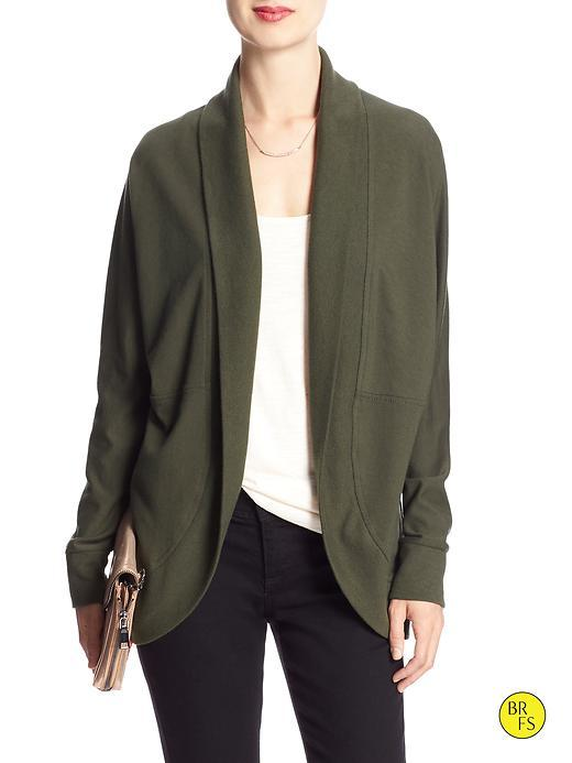 Banana Republic Womens Factory Shawl Collar Open Cardigan Size L - Peat Green