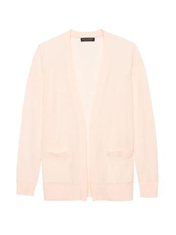Banana Republic Womens Machine-washable Merino Boyfriend Cardigan Sweater Pink Blush Size S