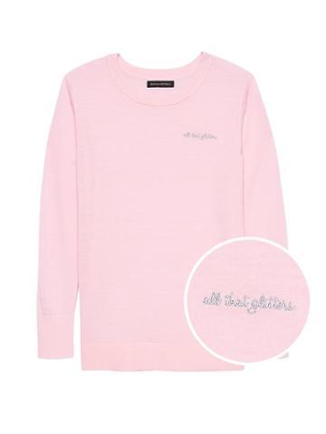 Banana Republic Womens Machine-washable Merino Wool Embroidered Sweater Pink Blush Size S