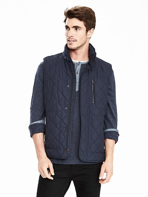 Banana Republic Mens Quilted Puffer Vest Size L Tall - Navy