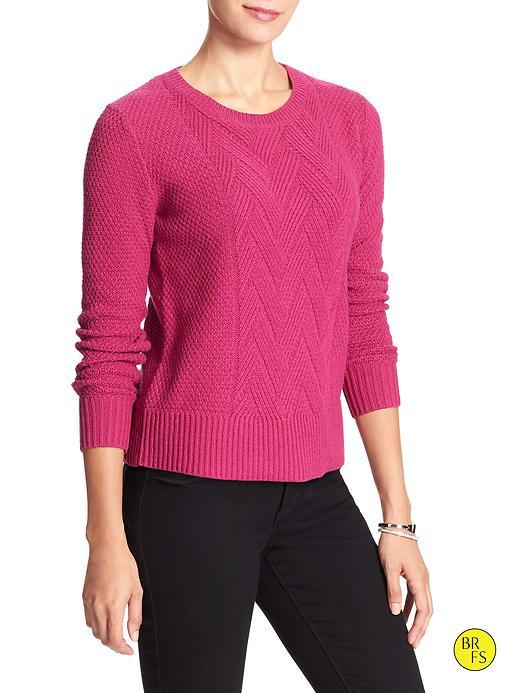 Banana Republic Factory Cable Knit Sweater Size L Petite - Cerise