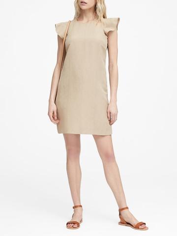 Banana Republic Petite Linen-blend Flutter-sleeve Dress