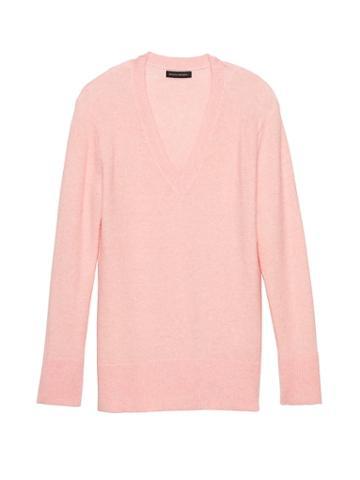 Banana Republic Womens Petite Aire V-neck Sweater Pink Blush Size Xs