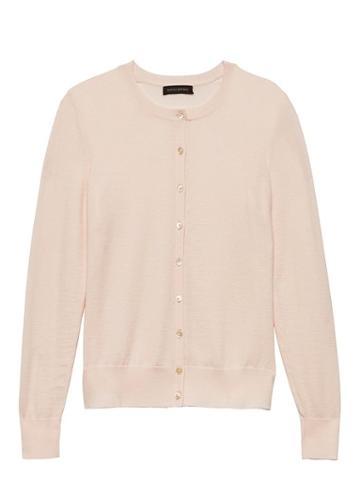 Banana Republic Womens Machine-washable Merino Wool Blend Cropped Cardigan Sweater Pink Blush Size Xs