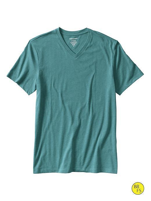 Banana Republic Factory Fitted V Neck Tee - Deep Sea Glass