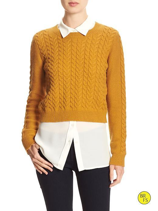 Banana Republic Womens Factory Crop Sweater Size L - Chandelier Yellow