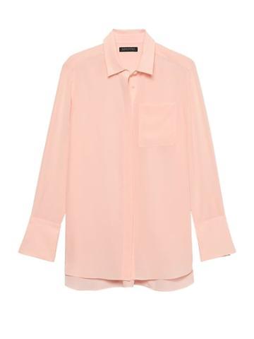 Banana Republic Womens Parker Tunic-fit Washable Silk High-low Shirt Pink Blush Size Xs