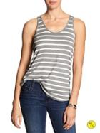 Banana Republic Womens Factory Stripe Keyhole Cut Out Tank Size L - Gray Heather