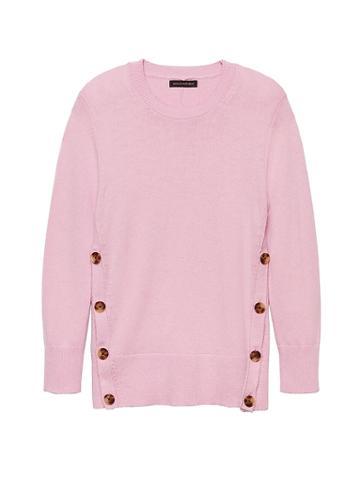 Banana Republic Womens Cotton-wool Blend Button-side Crew-neck Sweater Blush Pink Size L