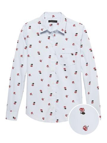 Banana Republic Petite Quinn Straight-fit Cherry Print Shirt