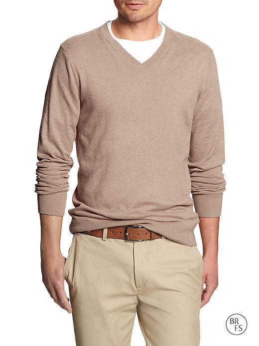 Banana Republic Factory Classic V Neck Sweater - Oatmeal Heather