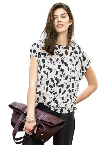 Banana Republic Womens Abstract Print Top Size L - Alabaster