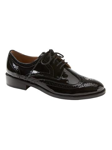 Banana Republic Womens Patent Leather Brogue Oxford Black Patent Leather Size 5