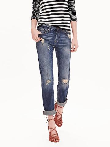 Banana Republic Destructed Boyfriend Jean Size 0 Petite - Medium Wash