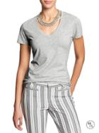 Banana Republic Factory V Neck Basic Tee - Light Grey Heather