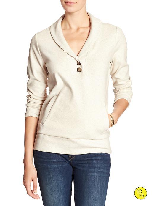Banana Republic Womens Factory Shawl Collar Pullover Size L - Light Oatmeal Heather