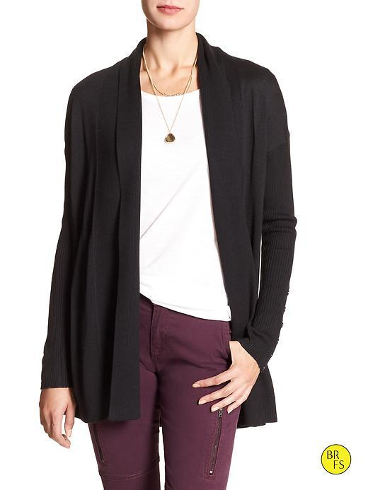 Banana Republic Womens Factory Button Sleeve Cardigan Size L - Black