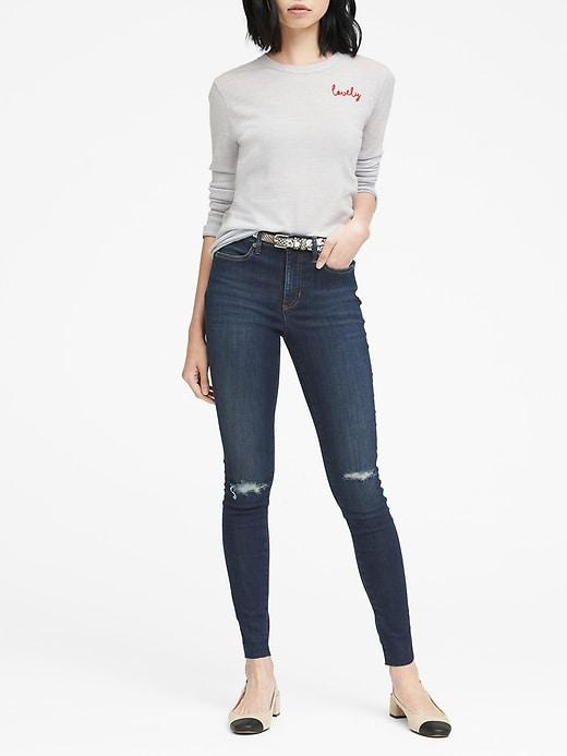 Banana Republic Womens Legging-fit Medium Wash Jean With Fray Hem Dark Indigo Size 24