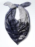 Banana Republic Womens Geo Palm Large Square Scarf - Patchwork Blue