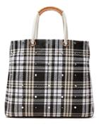 Banana Republic Plaid Mixed Straw Tote Size One Size - Black